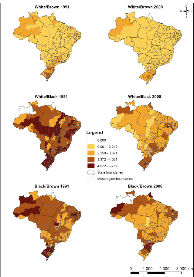 Maps of the log odds for mesoregions by interracial unions. Brazil, 1991 and 2000