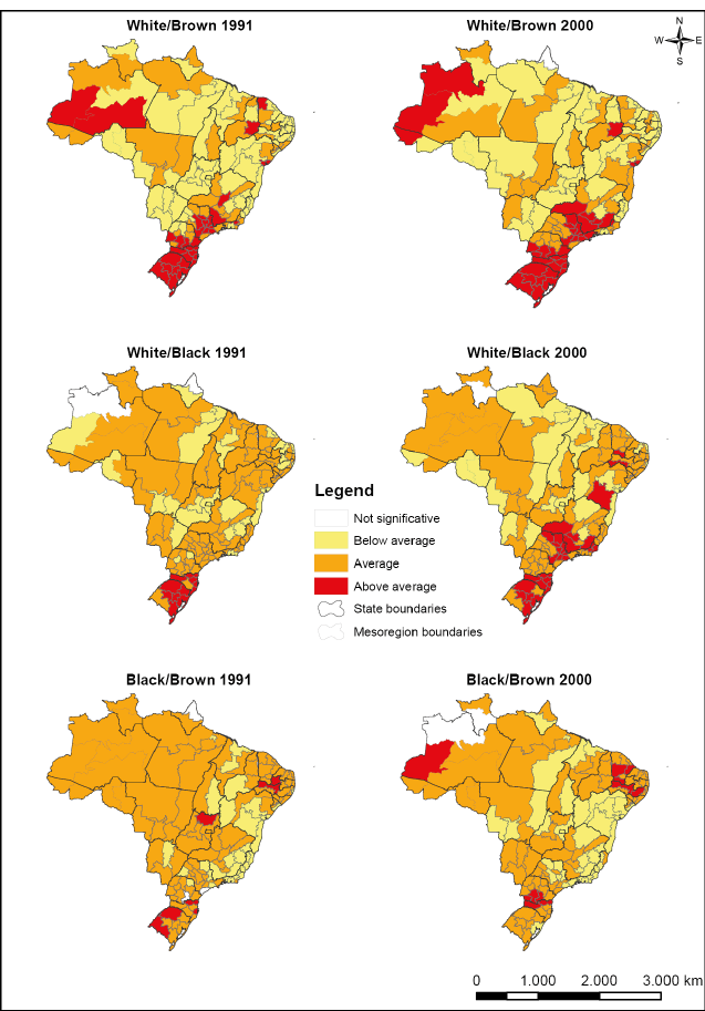 Maps of the t-test for mesoregions by interracial unions. Brazil. 1991 and 2000